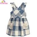 HE Hello Enjoy девушки летнее платье 2017 марка дети дети свадебное платье для девочек Рукавов плед кружева принцесса платье костюмы