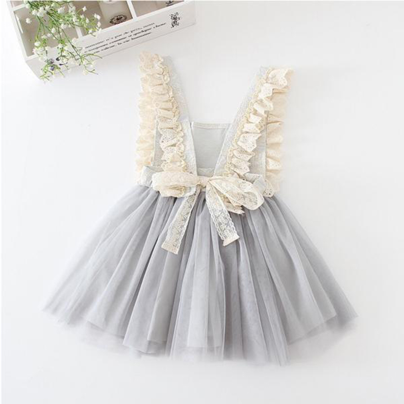 Bear Leader Girls Dresses 2018 New Brand Princess Girl Clothes Lace Dcoration Show Back Bowknot Design Girls Mesh TuTu For 3-7Y hearted shape back summer new princess girl s lace christening white big bowknot mesh sleeveless show performance formal dress