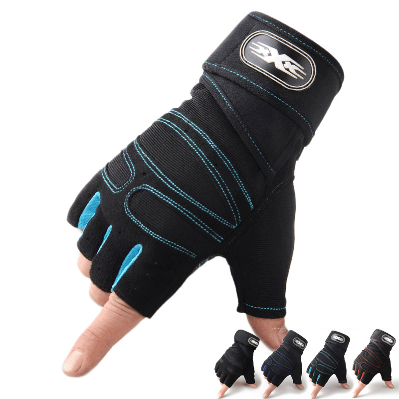 2018 Men Women Black Half Finger Fitness Gloves Protect Wrist Weight Lifting Gloves Gym Training Fingerless Sport Running Gloves