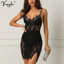 Sexy Black Lace Summer Dress Vrouwen Backless Strap Perspectief Jurk Elegante Vintage Night Club Party Jurken Vestido Kleding Nieuwe