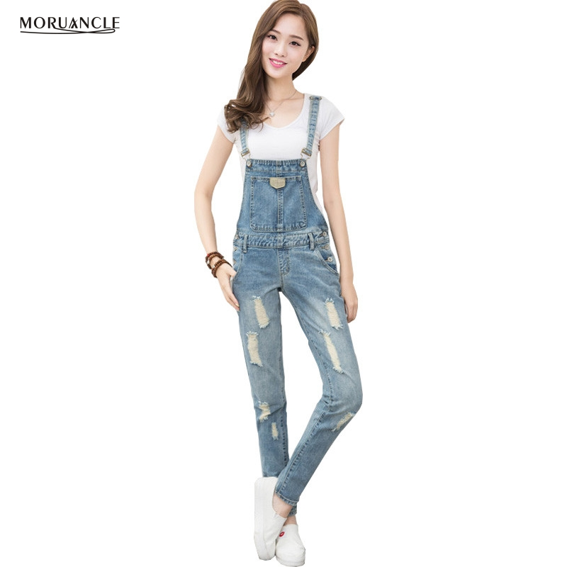MORUANCLE 2017 New Women Ripped Jeans Bib Overalls Fashion Female Torn Denim Jumpsuit Distressed Ladies Rompers Suspender Pants new fashion suspender jeans overalls trousers denim female straight dark blue washed women pants jumpersuit rompers