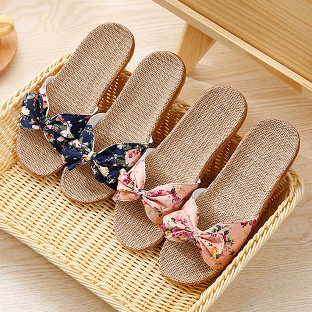 Sandal Wanita Fashion Bohemia Ikatan Simpul Rami Linen Sandal Jepit Pantai Sepatu Sandal Kasual Wanita Non-Slip Flat Wanita Sandal flop