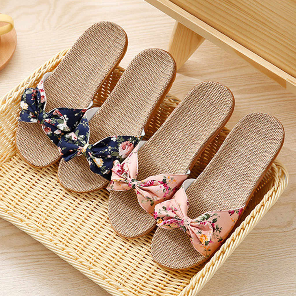 JKLING Gonouwxu Women Summer Bohemia Bowknot Flats Flax Linen Flip Flops Open Toe Beach Flower Print Shoes Slippers for Girls