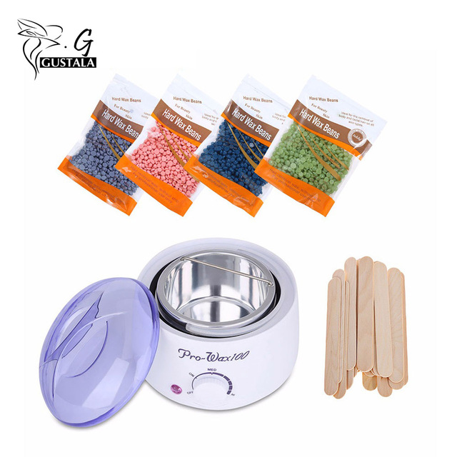 EU/UK Plug Hot Wax Warmer Heater Machine Epilator Hair Removal Waxing Beans Depilatory Wax 400g Painless Bean Sticks Waxing Kit