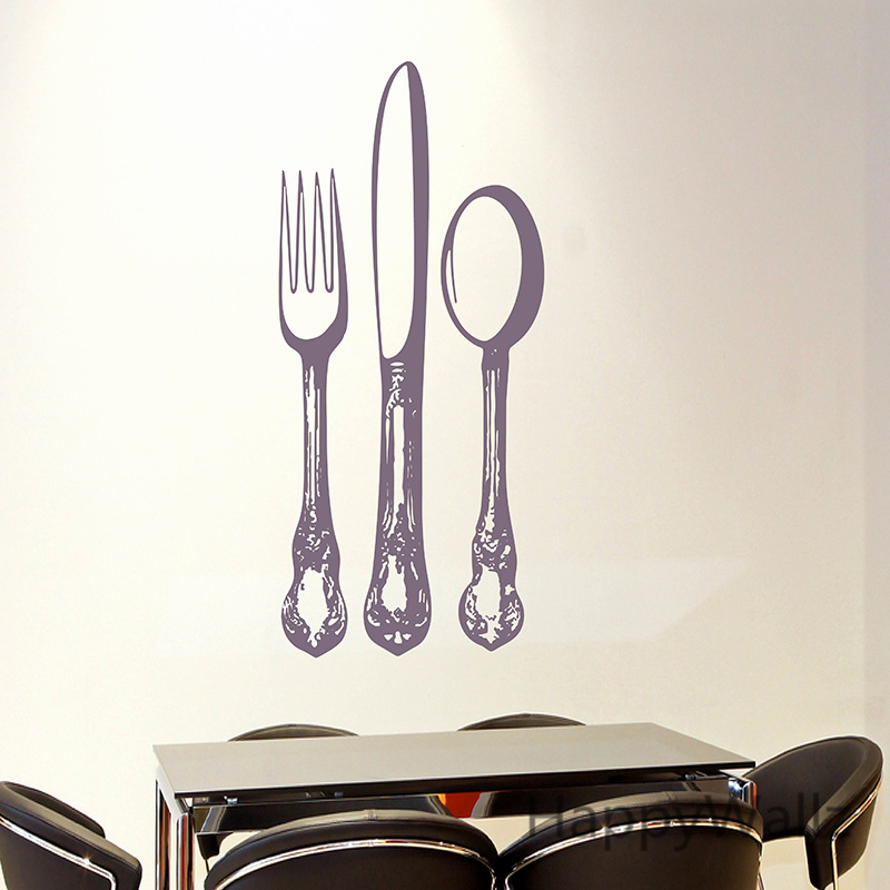 Kitchen Wall Sticker Spoon Fork Knife Kitchen Wall Decal DIY Modern Decor Kitchen Dining Knife Fork Wallpaper M31 in Wall Stickers from Home Garden