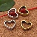 20 шт./лот, тибетские серебряные/Золотые разделительные бусины в форме сердца, металлические очаровательные бусины для самостоятельного изг...