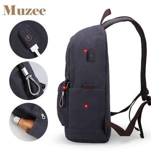 Image 5 - Muzee قماش الرجال على ظهره حقيبة ظهر بسعة كبيرة المدرسة حقائب للمراهقين كمبيوتر محمول USB شحن أكياس الذكور Mochila