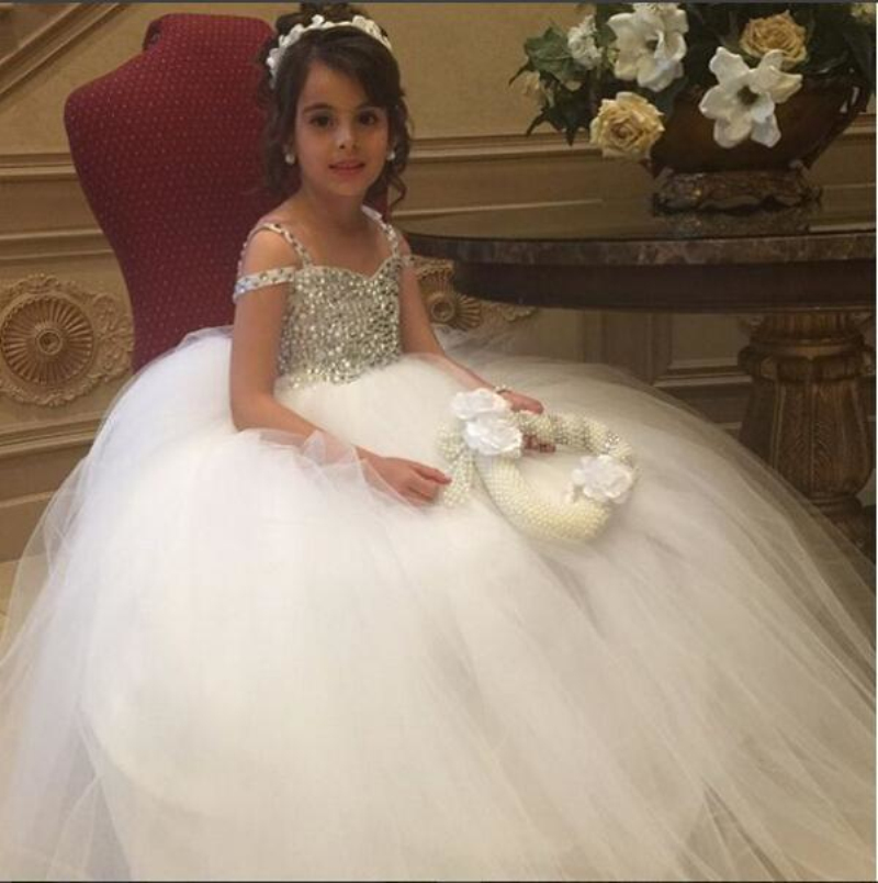 Luxurious   Flower     Girls     Dress   Spaghetti Straps Crystals Beaded Tops Ball Gown Tulle Child Pageant Prom Gowns for Wedding Party