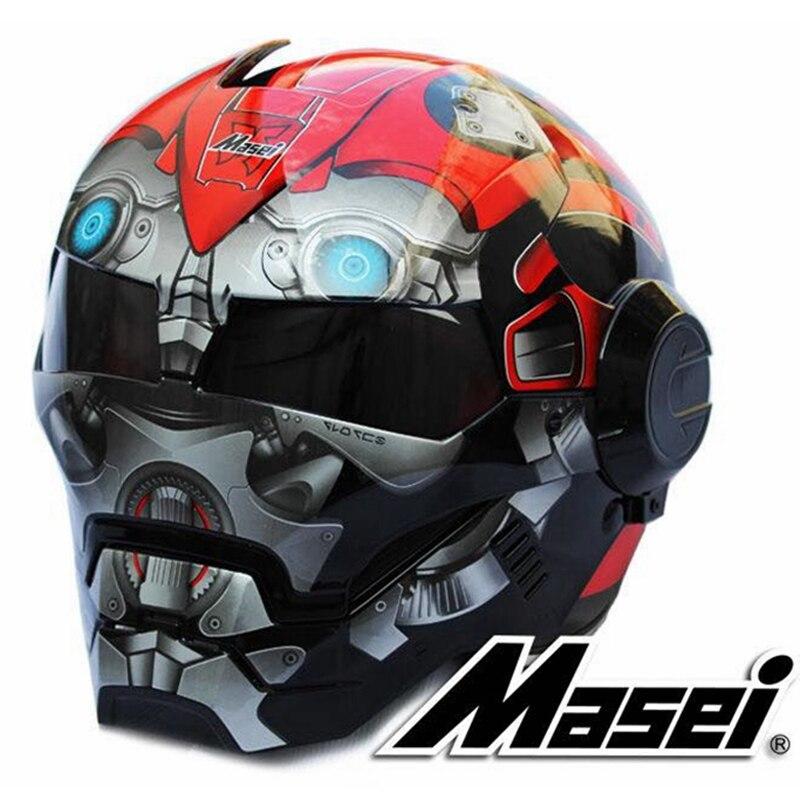 2017 Bourdon rouge MASEI 610 IRONMAN Iron Man casque casque de moto demi-casque casque ouvert casque motocross S M L XL
