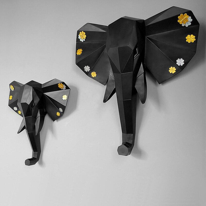3 couleurs disponibles nouvelle géométrie 3D Animal éléphant tête décoration murale tête résine mur ornement cadeau de noël cadeau créatif-in Statues et sculptures from Maison & Animalerie    1