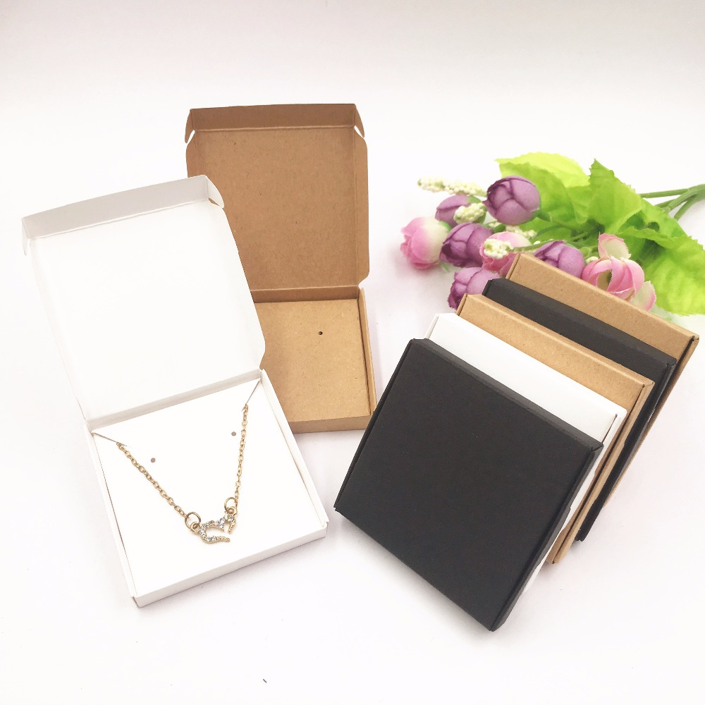 50set Jewelry Displays Paper Boxes for Pendant/Earring/Necklace Carrying Cases Wedding Jewelry Set Gift Packing Box 6*6*1cm