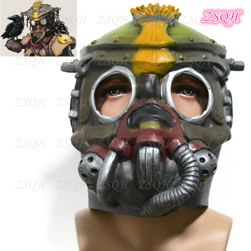 ZSQH Apex Legends Bloodhound Latex Mask cosplay mask costume prop Halloween terror Adult Bloodhound Latex Helmet Kids