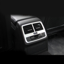 цена на Car styling ABS Chrome Rear air conditioning vent decorative frame air outlet trim strip 3D sticker for Audi A4 2017 Interior