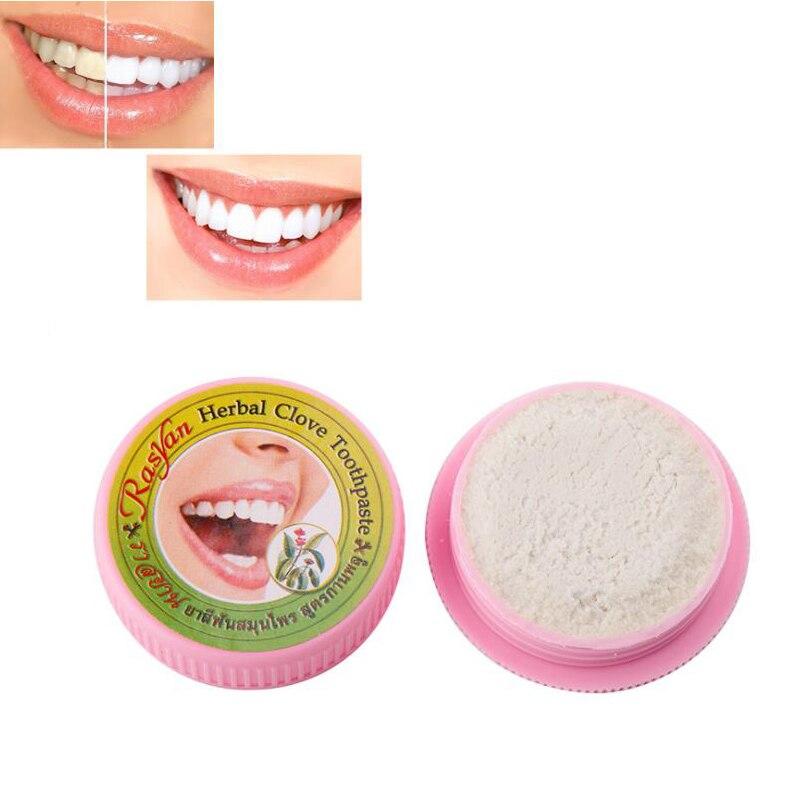 1 Pcs Natürliche Pflanzliche Clove Thailand Zahnpasta Antibakterielle Zähne Bleaching Zahn Pulver Entfernen Fleck Reinigung Werkzeug 25g Niedriger Preis