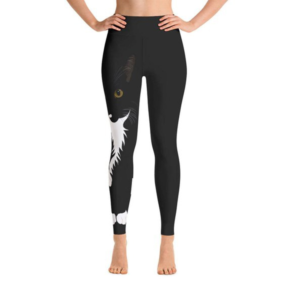 Fashion Autumn Style Digital Printed Leggings Sport Lovely Black Cat Pattern Slim Workout Polyester Leggings