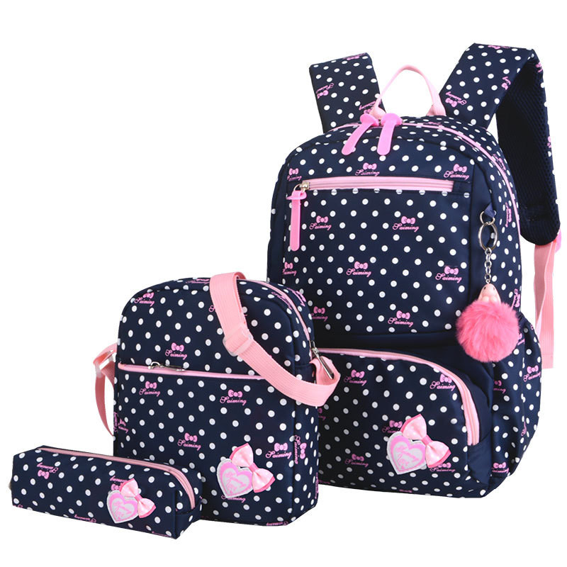 New Preppy Style 3 Pcs/Set Dot Printing Backpacks High Quality Waterproof Nylon School Bags For Girls Rucksack Mochila Infantil