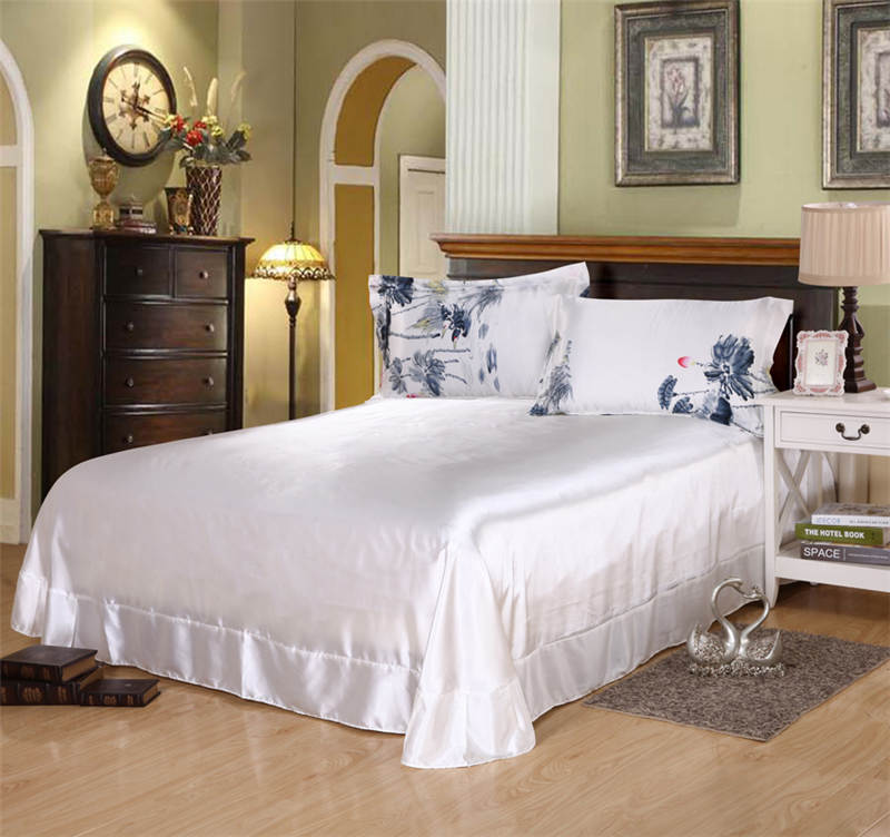Juego de cama de seda satinada edredón cubre colchas doble reina tamaño king dormitorio decoración pintura china flor de LOTO - 3
