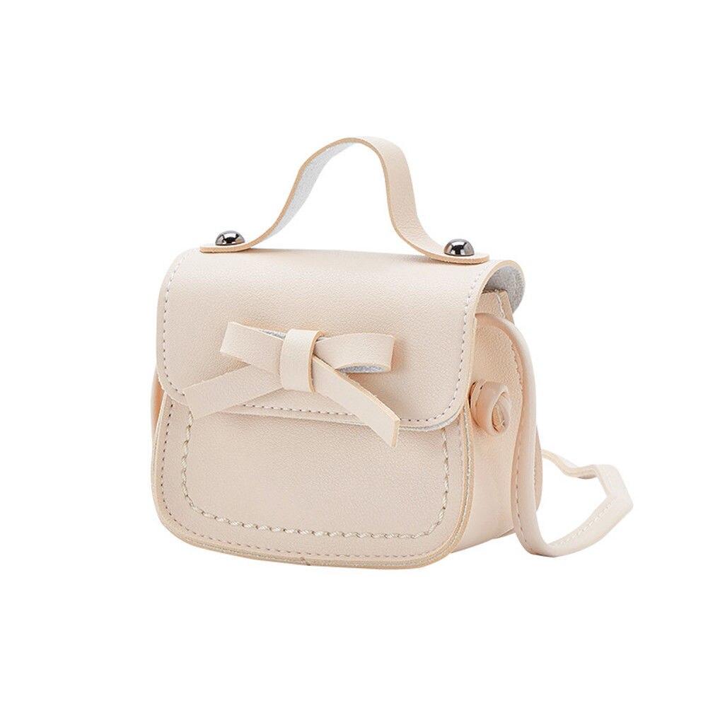 Новинка, брендовые сумки-мессенджеры для малышей, сумки на плечо для девочек, сумки на плечо для принцесс, однотонные кошельки с бантиком для принцесс - Цвет: Бежевый