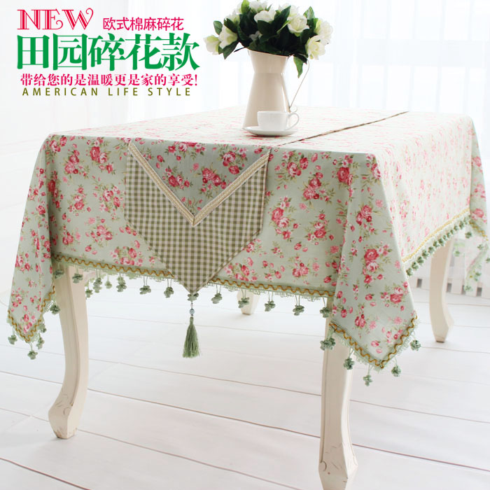 European Style Luxury High Grade Green Linen Tablecloths Western