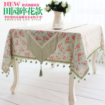 European-style luxury high-grade green linen tablecloths western rural rustic coffee table cloth table runner tablecloth Roundta
