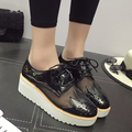 Spring Leather Women Flat platform Shoes Brogue Vintage Shoes For Women Patent Leather Female Derbies Footwear Hollow 168