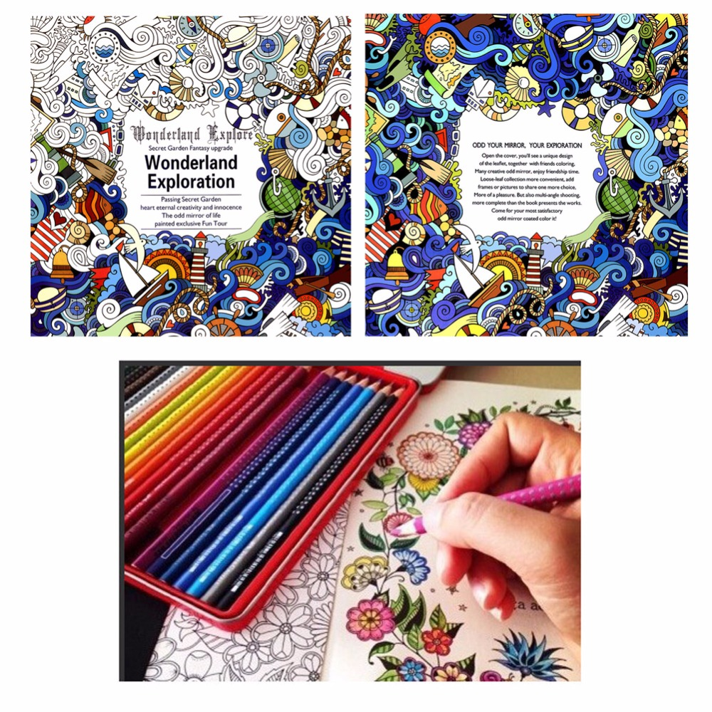 Coloring book for adults for pc - 1pc Wonderland Exploration Coloring Book Paperback Children English Graffiti Painting Books Drawing Tool For Kids Adult