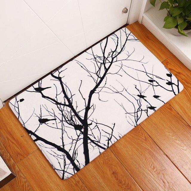 YJ Bear Black Bird Tree Branch Rectangle Doormat Kitchen Floor ...