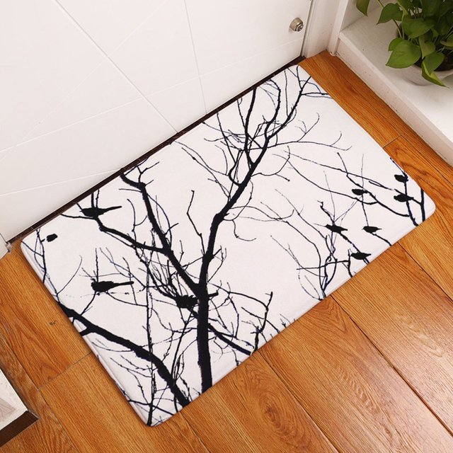 YJ Bear Black Bird Tree Branch Rectangle Doormat Kitchen Floor Runner Non  Slip Floor Mat Entry