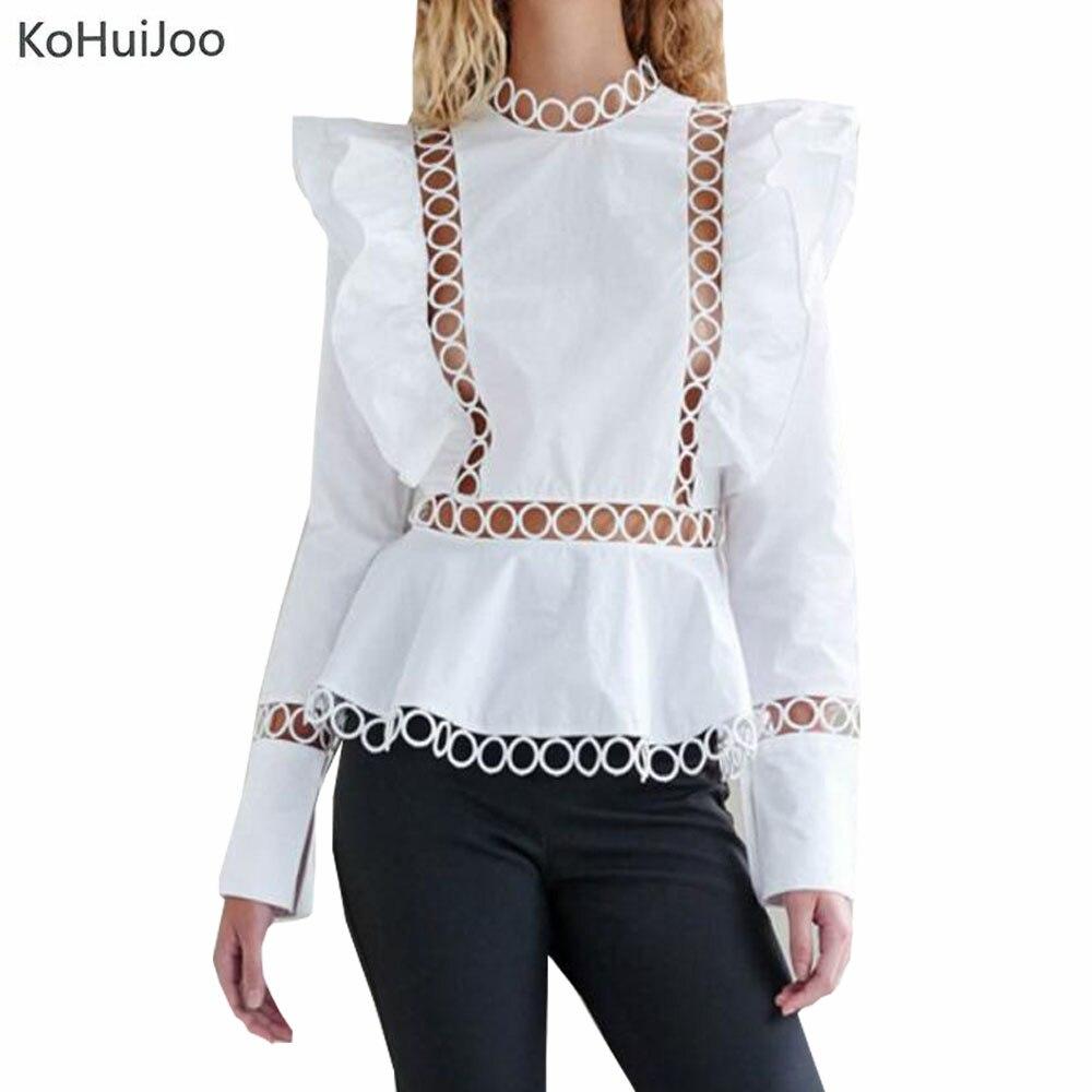 9154ccdc37b45 KoHuiJoo Européenne 2018 Printemps À Manches Longues Élégant Chemisier  Femmes Noir Blanc Cut Out Piste Blouses et Chemises De Mode Style