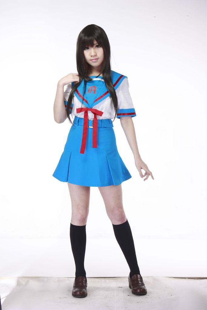 Asahina Mikuru Cos Suzumiya Haruhi no Yuuutu Cartoon Anime Cosplay Halloween Girls Summer sailor school uniforms