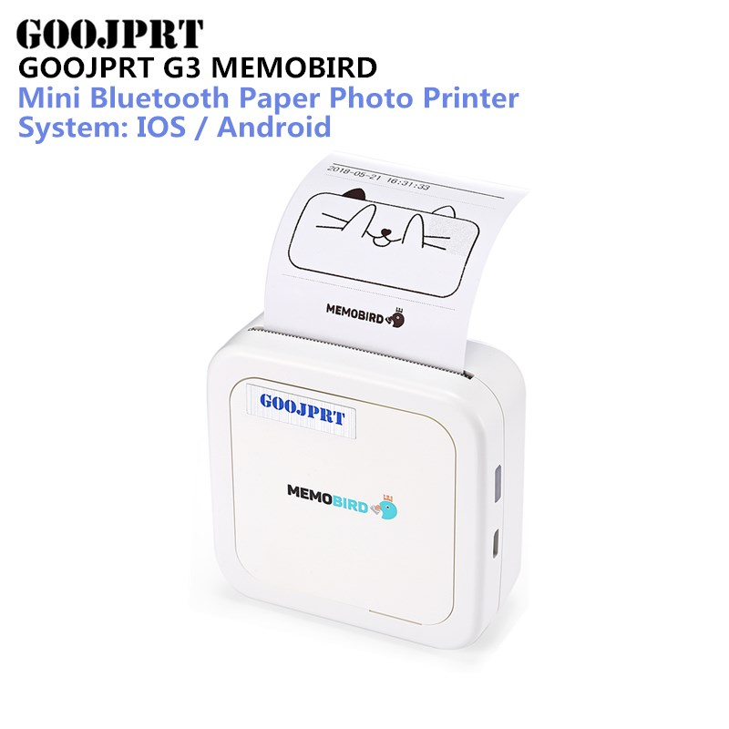 GOOJPRT G3 MEMOBIRD Bluetooth Thermal Printer Mini Bluetooth Paper Photo Printer Thermal Printing for iOS and Android thermal printer free 1 printer paper for contec multi parameter patient monitor