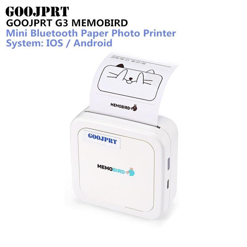 GOOJPRT G3 MEMOBIRD imprimante thermique bluetooth mini bluetooth Papier Photo Imprimante Thermique Impression pour iOS et Android