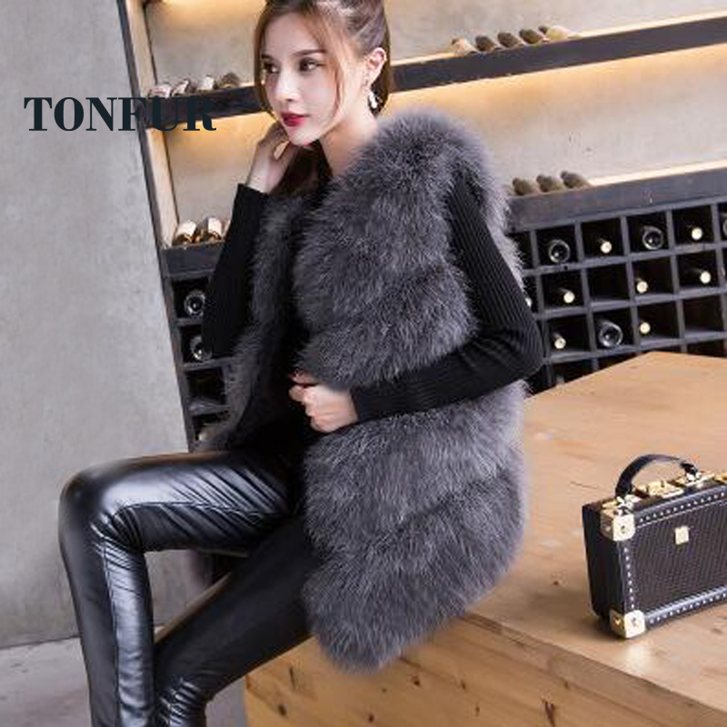 2019 New Arrival Vintage Style 100% True Knitted Ostrich Fur Gilet Natural Feather Fur Vest TSR141