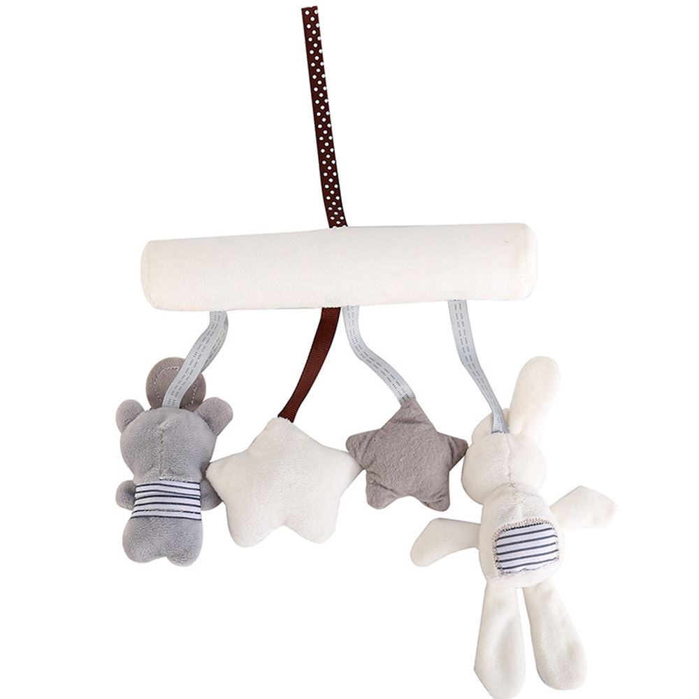Cute Baby Rattles Mobiles Hanging Bed Stroller Crib Rattles Rabbit Toys Plush Animal Music Doll Bed Bell Educational Mobile Toys
