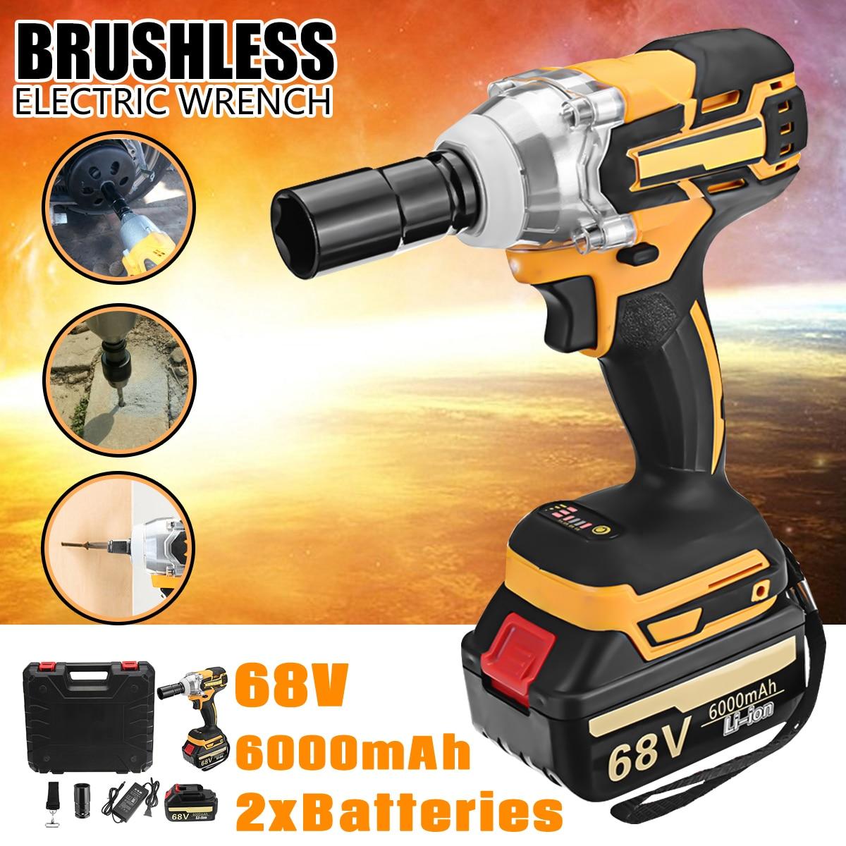 Doersupp 1 pcs 68 v 6000 mah Électrique Clé 2 Batteries 1 Brushless Chargeur Sans Fil Lecteur 380 NM Électrique Clé outils électriques