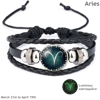 Luminous Signs of the Zodiac Decorated Leather Bracelet Bracelets Jewelry New Arrivals Women Jewelry Metal Color: Aries
