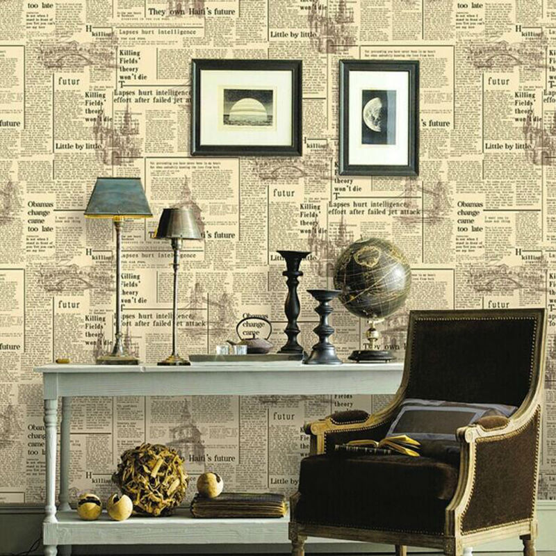 3D Vintage English Letters Wallpaper Roll PVC Newspaper Wall Paper Home Decor For Bedroom Living Room Wallcovering