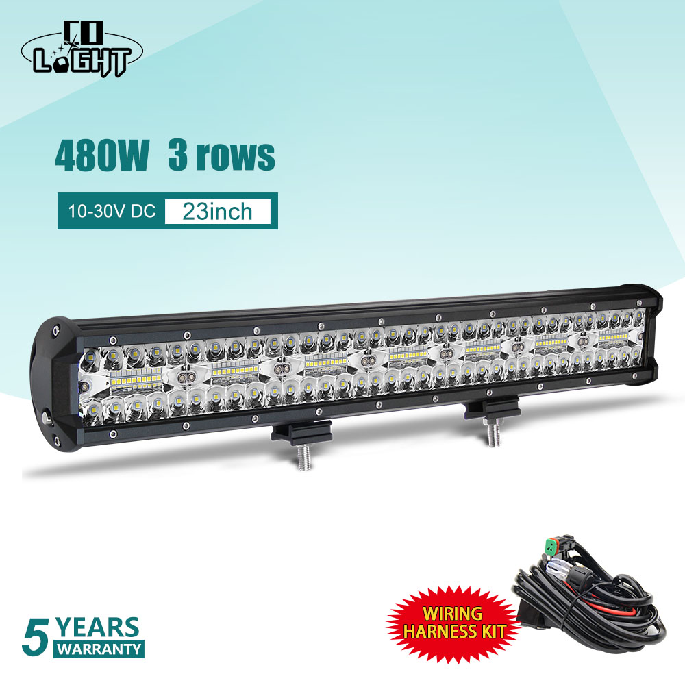 CO LIGHT 3 Rows 23 LED Light Bar 480W LED Bar Combo Auto Driving Work Light
