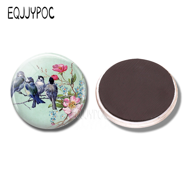 Blue Birds on A Branch 30MM Fridge Magnet Pink Flowers Glass Cabochon Magnetic Refrigerator Stickers Note Holder Home Decoration 3