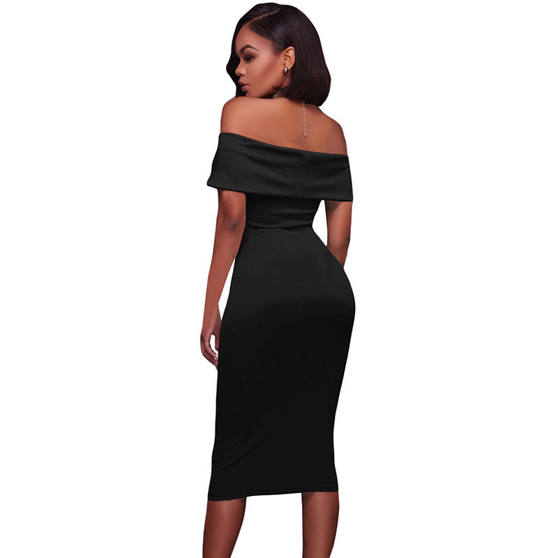 ADEWEL Women Sexy Off Shoulder Strapless Midi Dress Ruched Elegant Bodycon Dress Party Clubwear Pencil dress 40