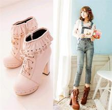 NEW Women's sweet lace lace Lolita thick high-heeled platform ankle boots 6color optional all sizes