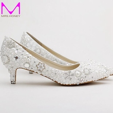 Pointed Toe White Pearl Bridal Shoes Middle Heel Wedding Dress Shoes Banquet Party Pumps Rhinestone Handmade Fashion Shoes