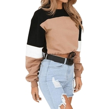 цены на 2019 New Women Harajuku Fashion Color Block Sweatshirt Autumn O-Neck Long Sleeve Causal Pullovers Women Ladies Sexy Crop Top  в интернет-магазинах
