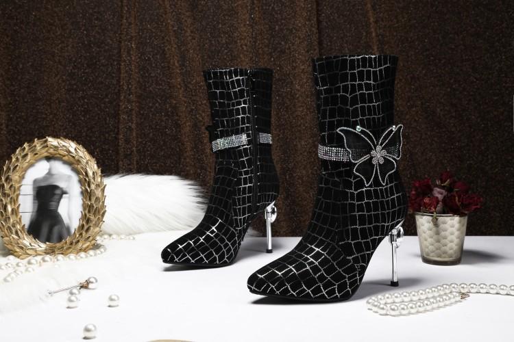 De Boucle Cristal as Show Hauts Mixte Chaussures Show Bout Papillon Pour Talons Plaid En As Couleur Daim Femmes Pointu Dames Cheville Luxe Bottes Chaussons Femme thQrsdC