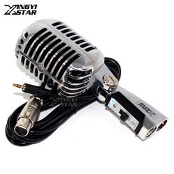 Professional 3.5mm Wired Mic Vintage Dynamic Microphone For Computer Video Recording PC Karaoke Stage Singer Sing 55SH II Switch