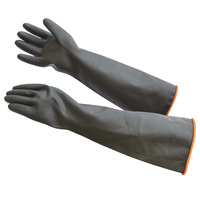 Super Lengthen 55cm Color Black Labor Protecting Thickening Rubber Latex Protection Gloves On Industrial Acid Alkali