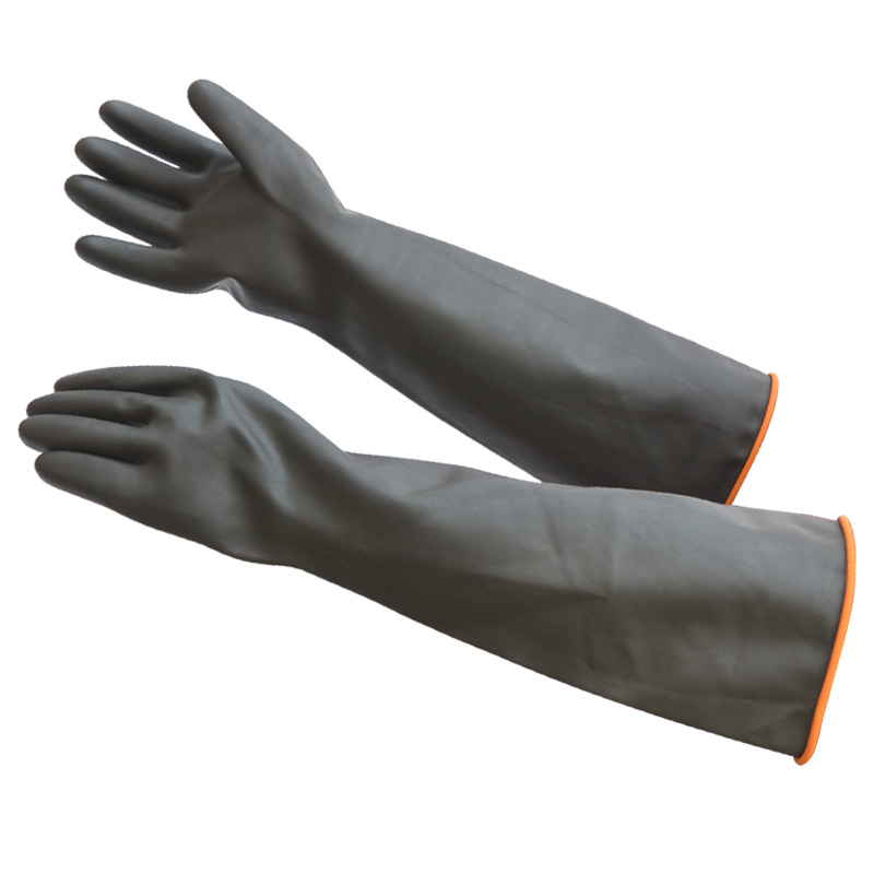 دستکاری فوق العاده 55 سانتی متر رنگ سیاه کار محافظت از دستکش های محافظ لاستیکی / لاتکس روی عایق قلیایی اسیدهای صنعتی