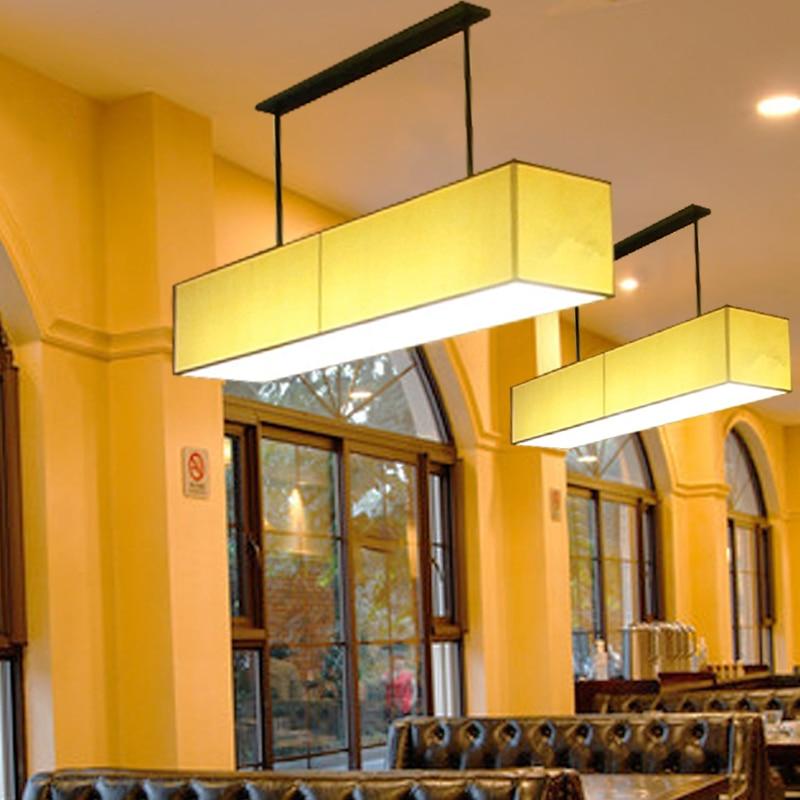 Nordic modern minimalist American style living room restaurant Pendant Lights linen fabric rectangular Pendant Lamps