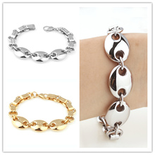 8.26″ Cuffee Bean Design Cute Girl's Womens Mens Jewelry Silver / Gold color  316L Stainless Steel Cuff Chain Bracelet & Bangles