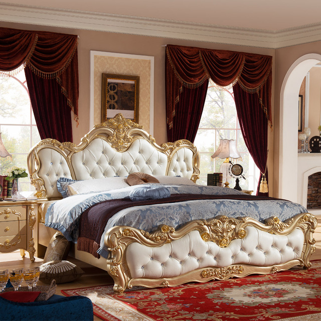 French Luxury Bed With Gold Color No Mattress H904 In Beds From